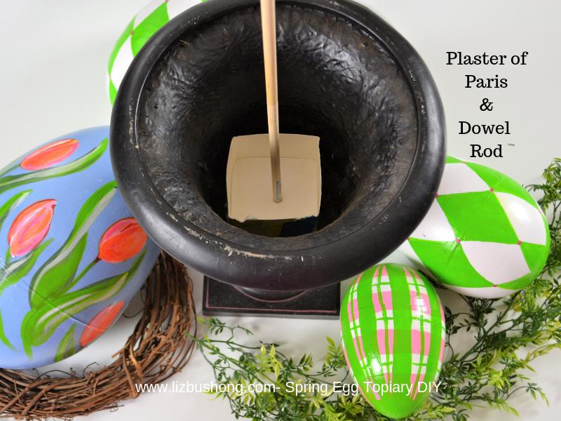 Spring Egg Topiary DIY-urn dowel plaster lizbushong.com