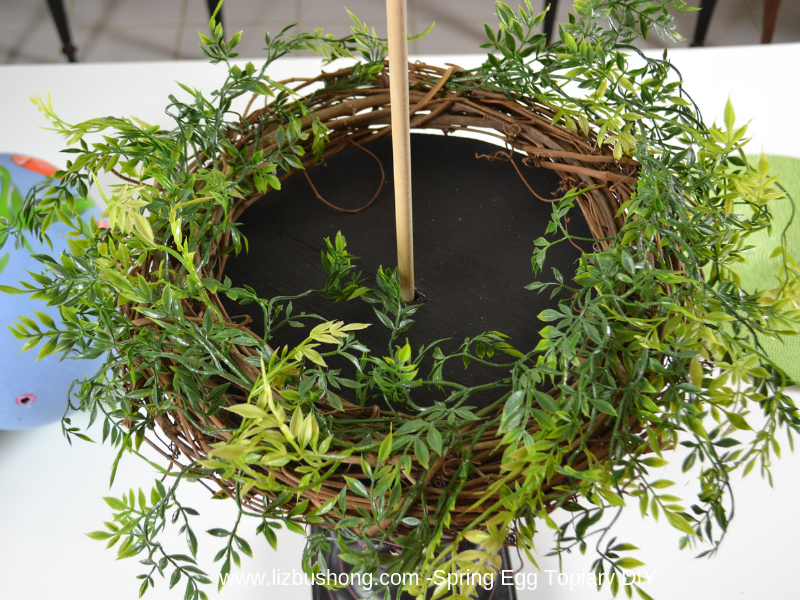 Spring Egg Topiary- wreath with greenery lizbushong.com