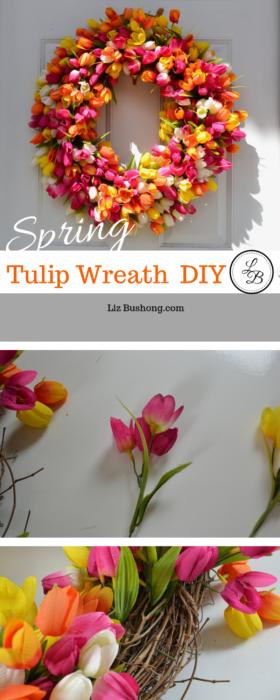 How to Make Spring Tulip Wreath lizbushong.com