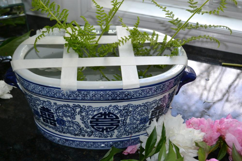 DIY Oriental Blue White Peony Centerpiece