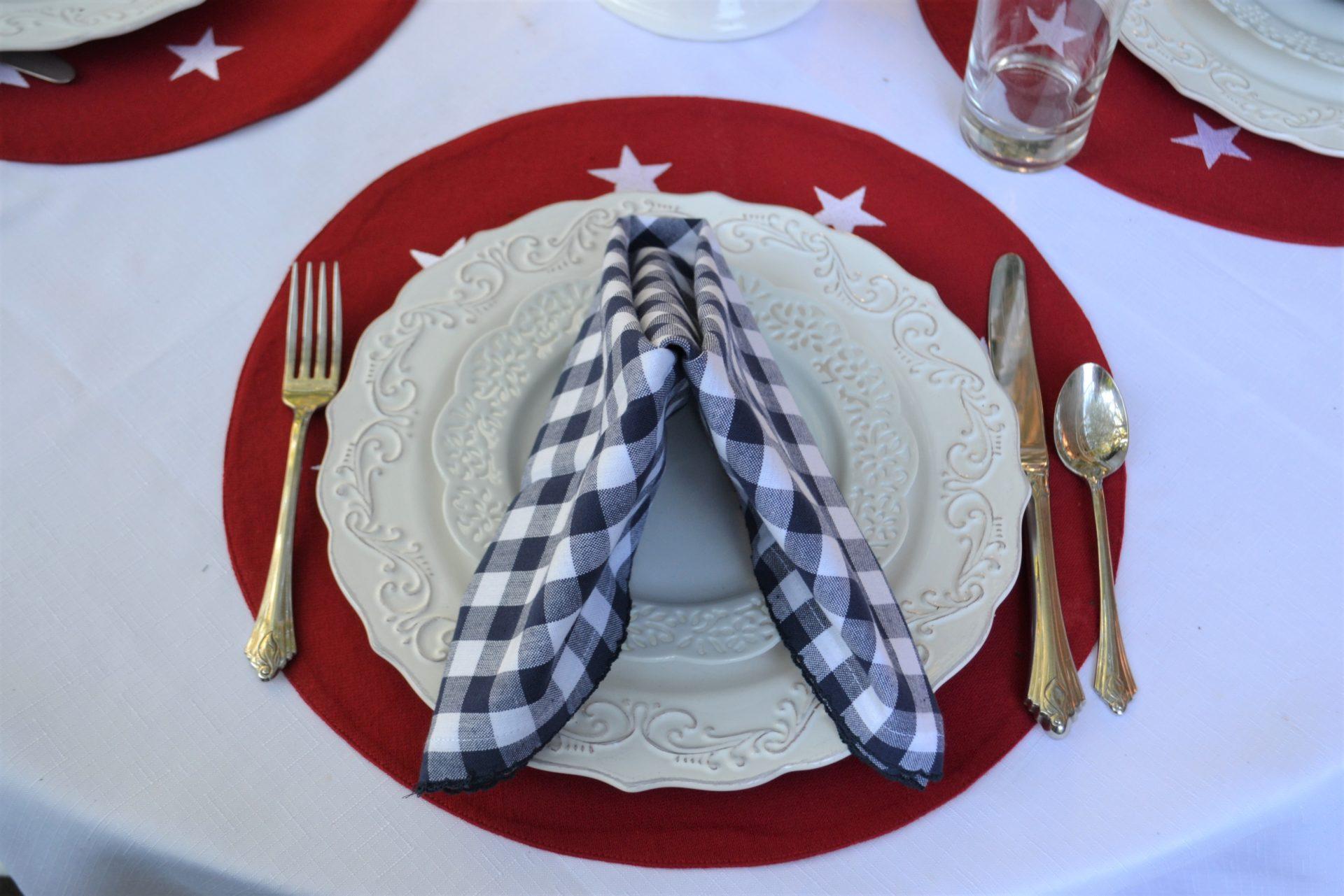 Red, White, Blue Stars n Stripes Tablescape- napkin fold 5-lizbushong.com