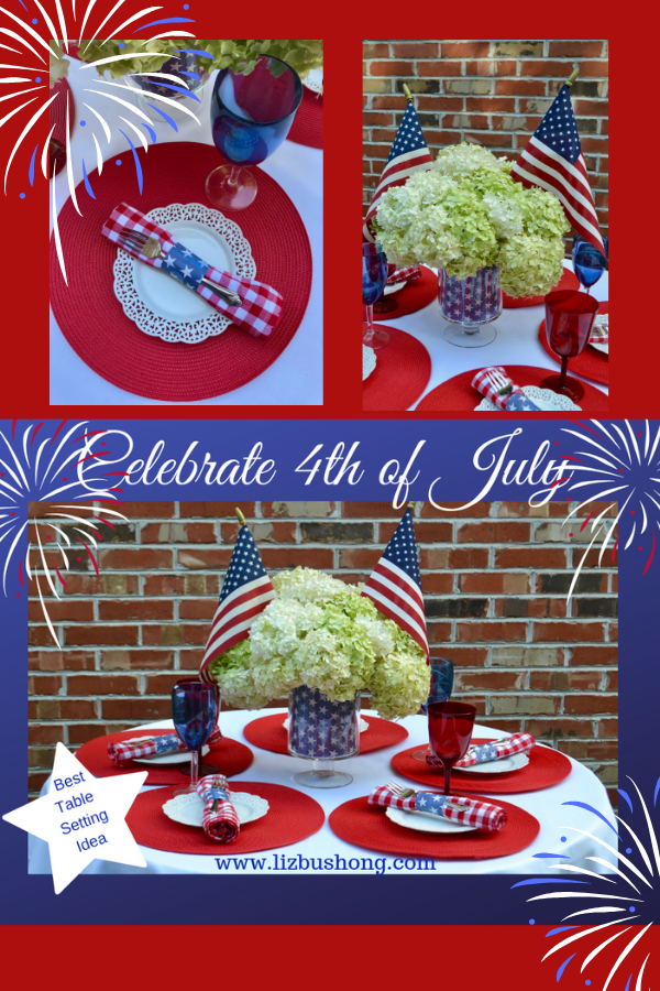 Pinterest graphic- 4th of July table setting-lizbushong.com