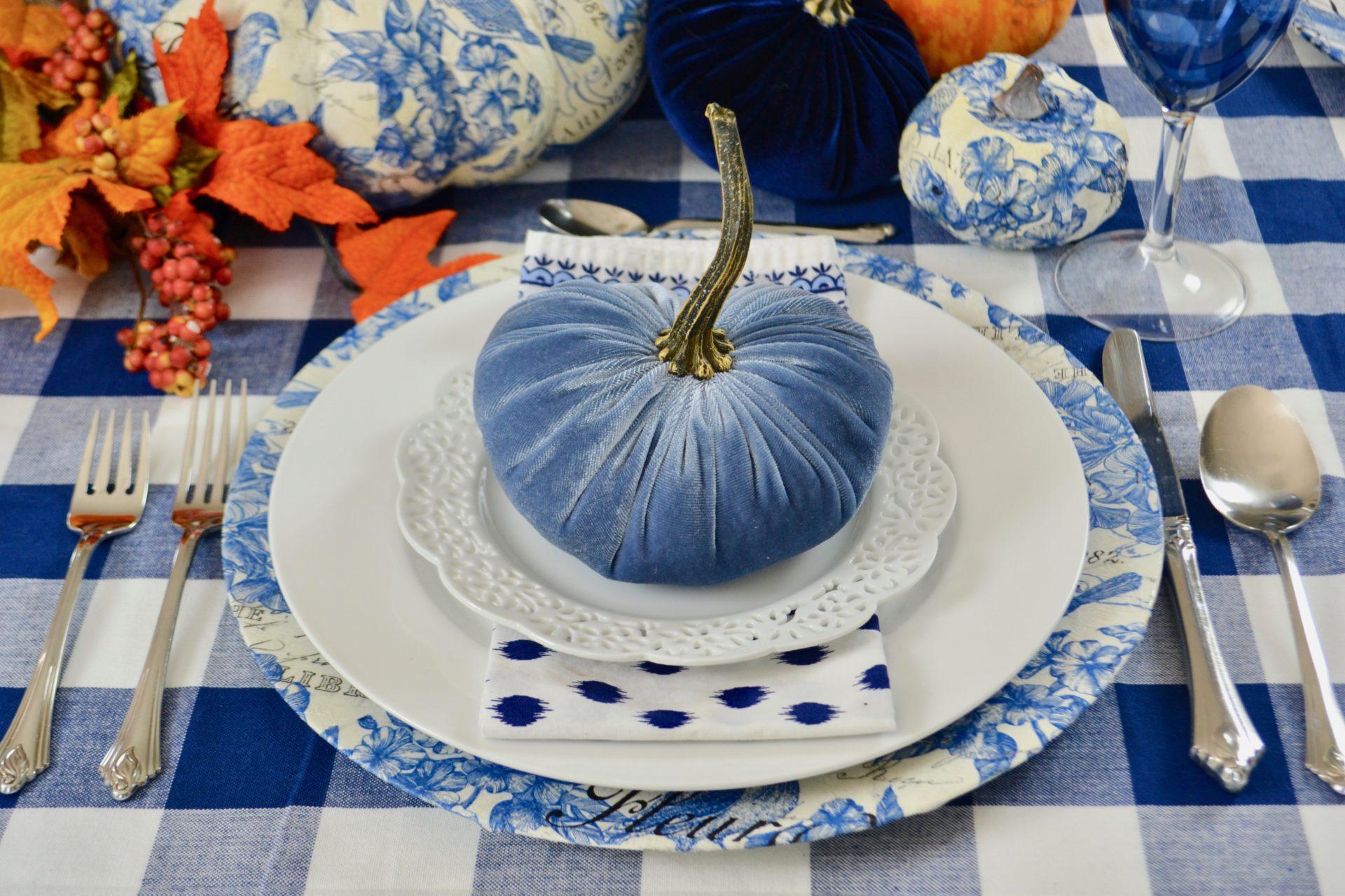 Decoupage DIY Charger & Pumpkins. lizbushong.com