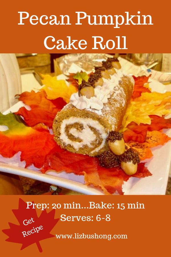 Pecan Pumpkin Cake Roll lizbushong.com