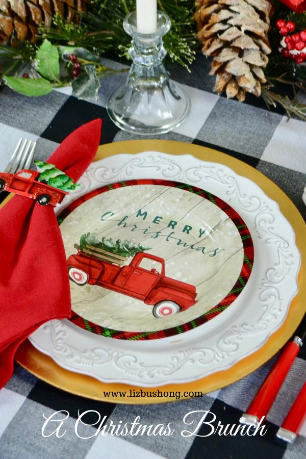 Christmas brunch table setting- truck & tree lizbushong.com