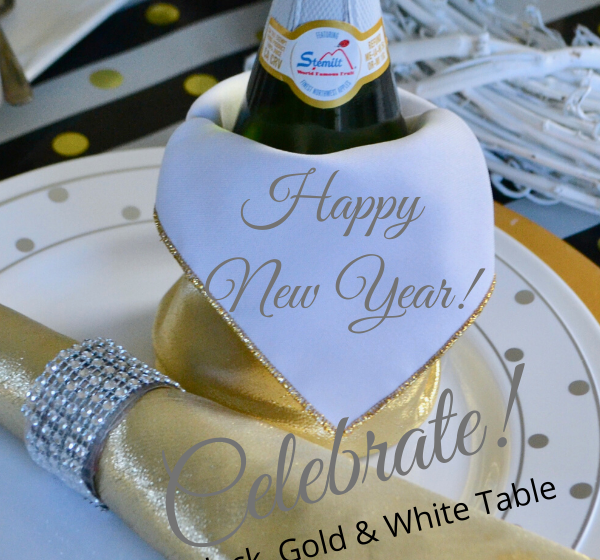 Celebrate New Year with Gold, Black and White Table lizbushong.com