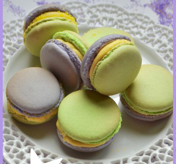 Mardi Gras Lemon Filled Macaron Recipe