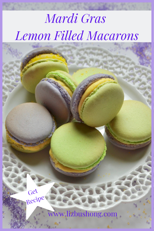 Mardi Gras Lemon Filled Macaron Recipe