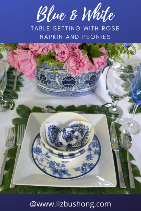Blue & White Table Setting with peonies lizbushong.com
