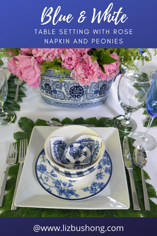 Blue & White Table Setting with peonies lizbushong.com