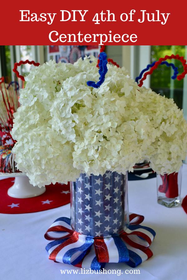 Best 4th of July Tablesetting Ideas Flower Vase Centerpiece lizbushong.com