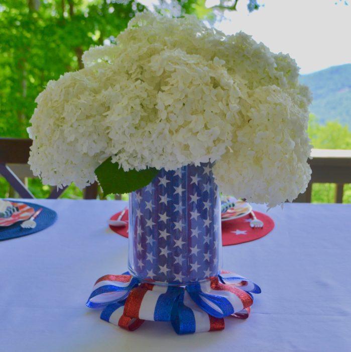 Hydrangea Star Studded Vase for 4th of July lizbushong.com