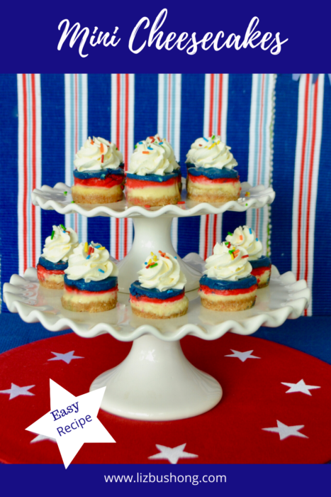 Mini Cheesecakes red,white,blue recipe lizbushong.com