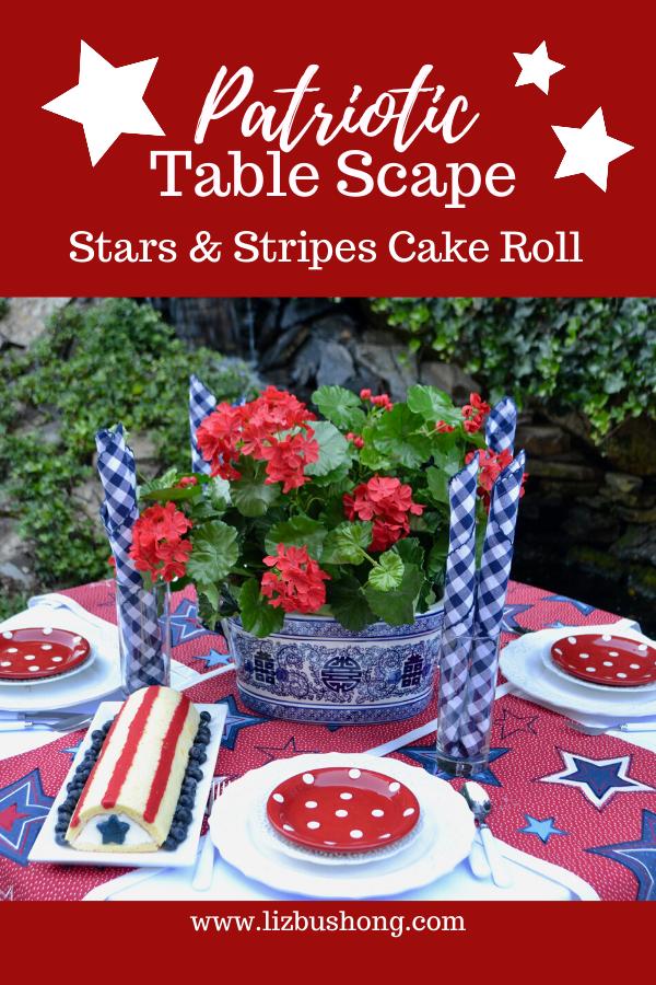 Patriotic Table Scape featuring Half Cake Roll lizbushong.com