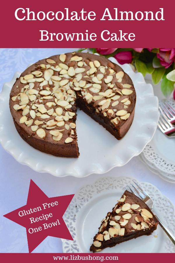 Chocolate Almond Brownie Cake lizbushong.com