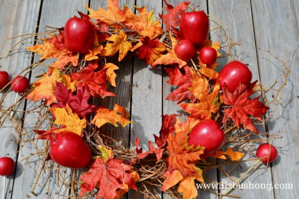 DIY Fall Apple Wreath Apples and Leaves, lizbushong.com