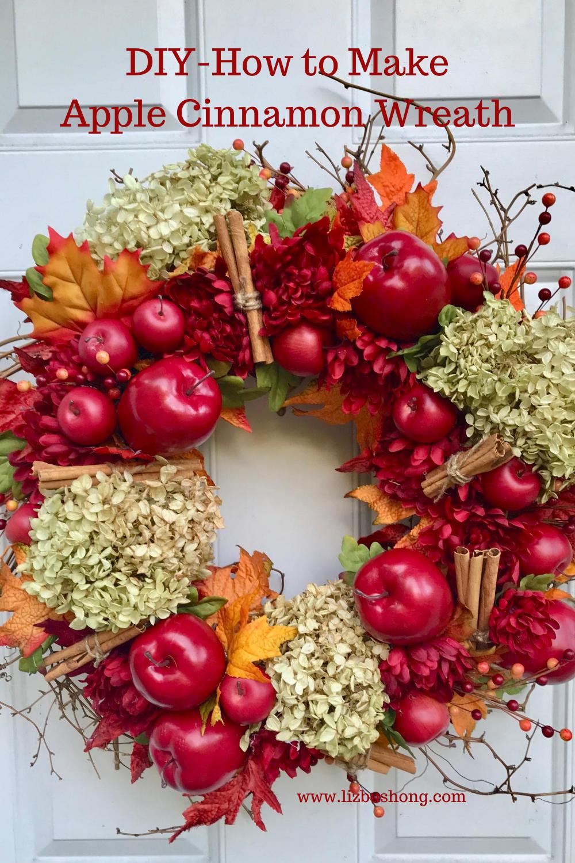 DIY Fall Cinnamon Apple Wreath lizbushong.com