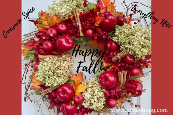 Happy Fall Apple Cinnamon Wreath lizbushong.com