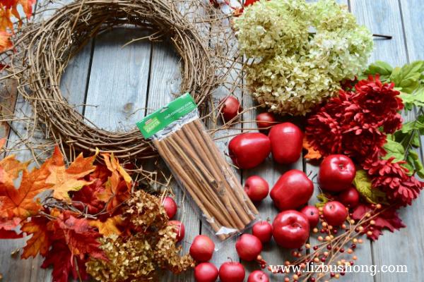 Fall Apple Wreath Supplies lizbushong.com
