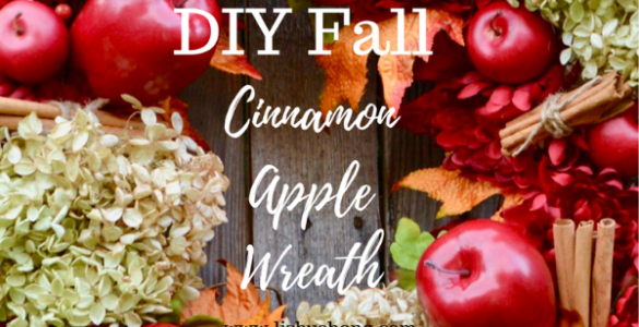 DIY Apple Cinnamon Fall Wreath lizbushong.com