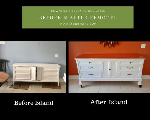 Before/After remodel kitchen island, lizbushong.com