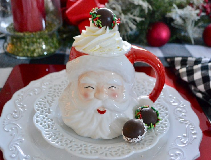 Santa Mug of hot chocolate mini chocolate bombs with sprinkles lizbushong.com