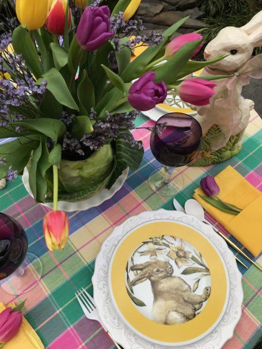 Cabbage vase bunny table setting lizbushong.com