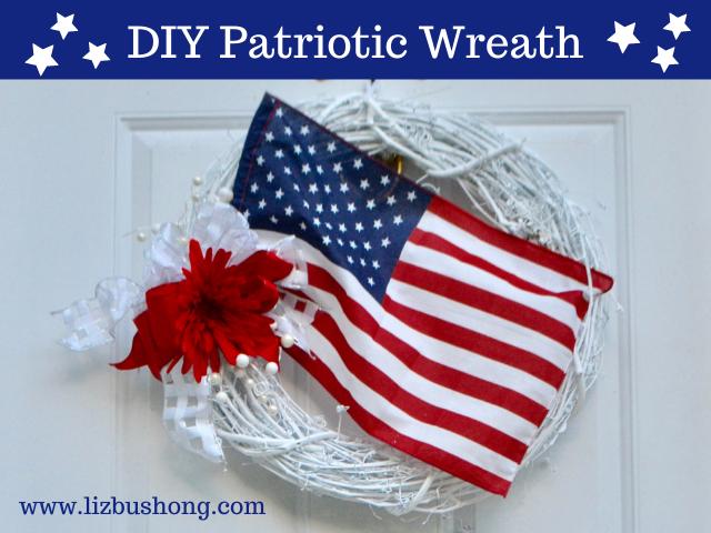How to make DIY Patriotic Wreath with Flag lizbushong.com