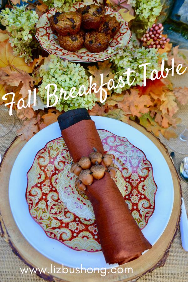 Fall breakfast table setting raisin bran muffins lizbushong.com