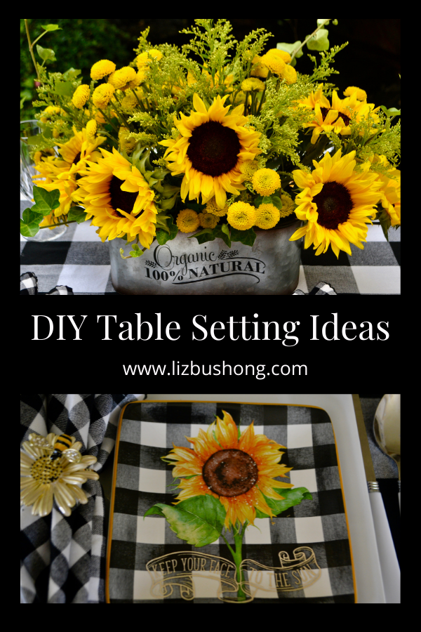 How to Set a Sunflower Inspired Table Top lizbushong.com