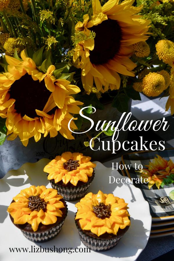 Sunflower Cupcakes Recipe lizbushong.com