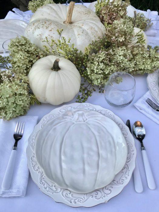 Decorate with White Pumpkin tablecape lizbushong.com